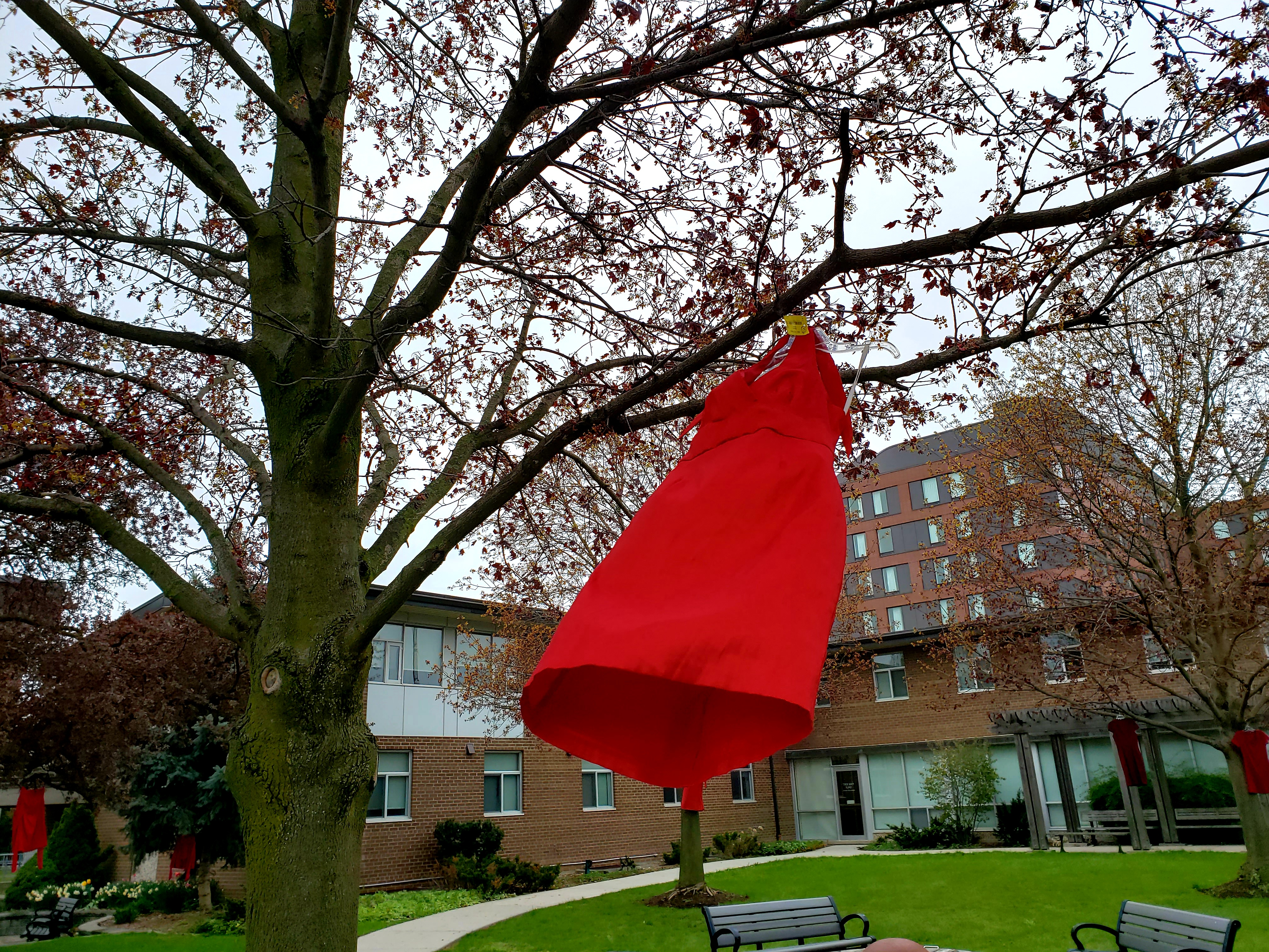 The Red Dress Day installation at SJU's Alumni Court