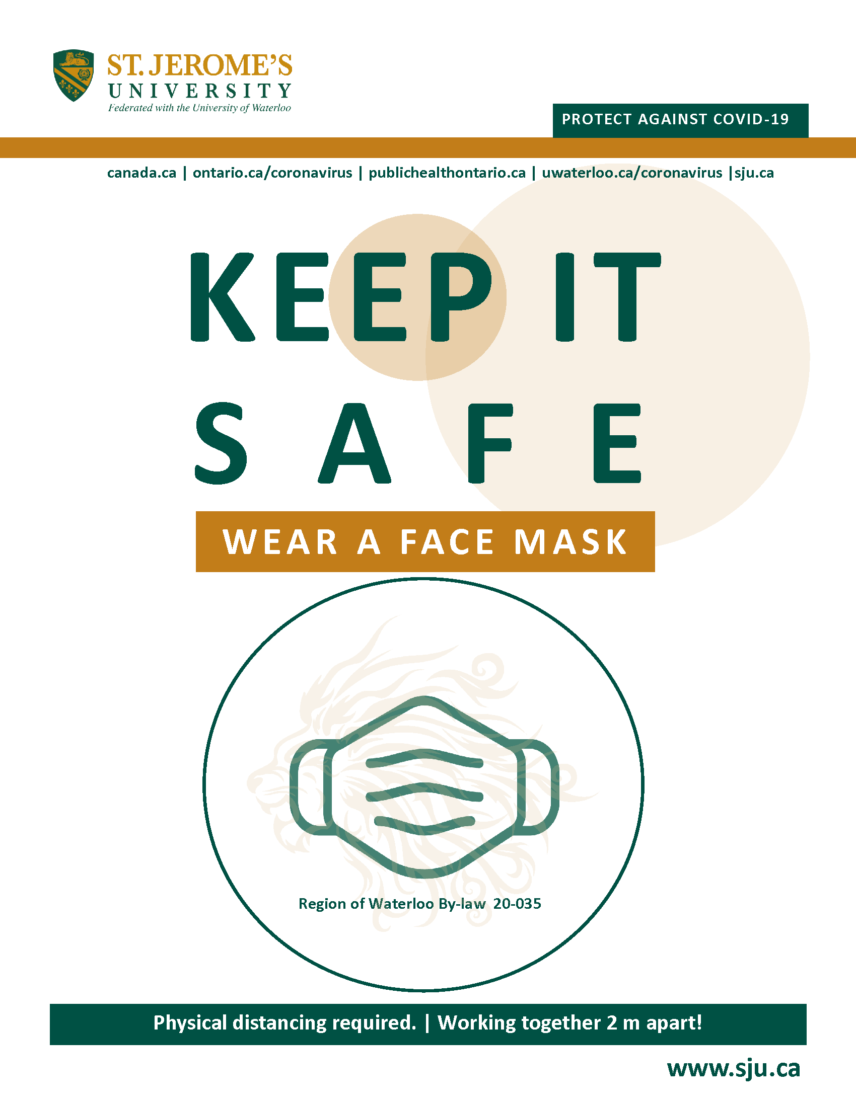 A stylized image of a face mask and above it reads Keep It Safe - Wear a Face Mask