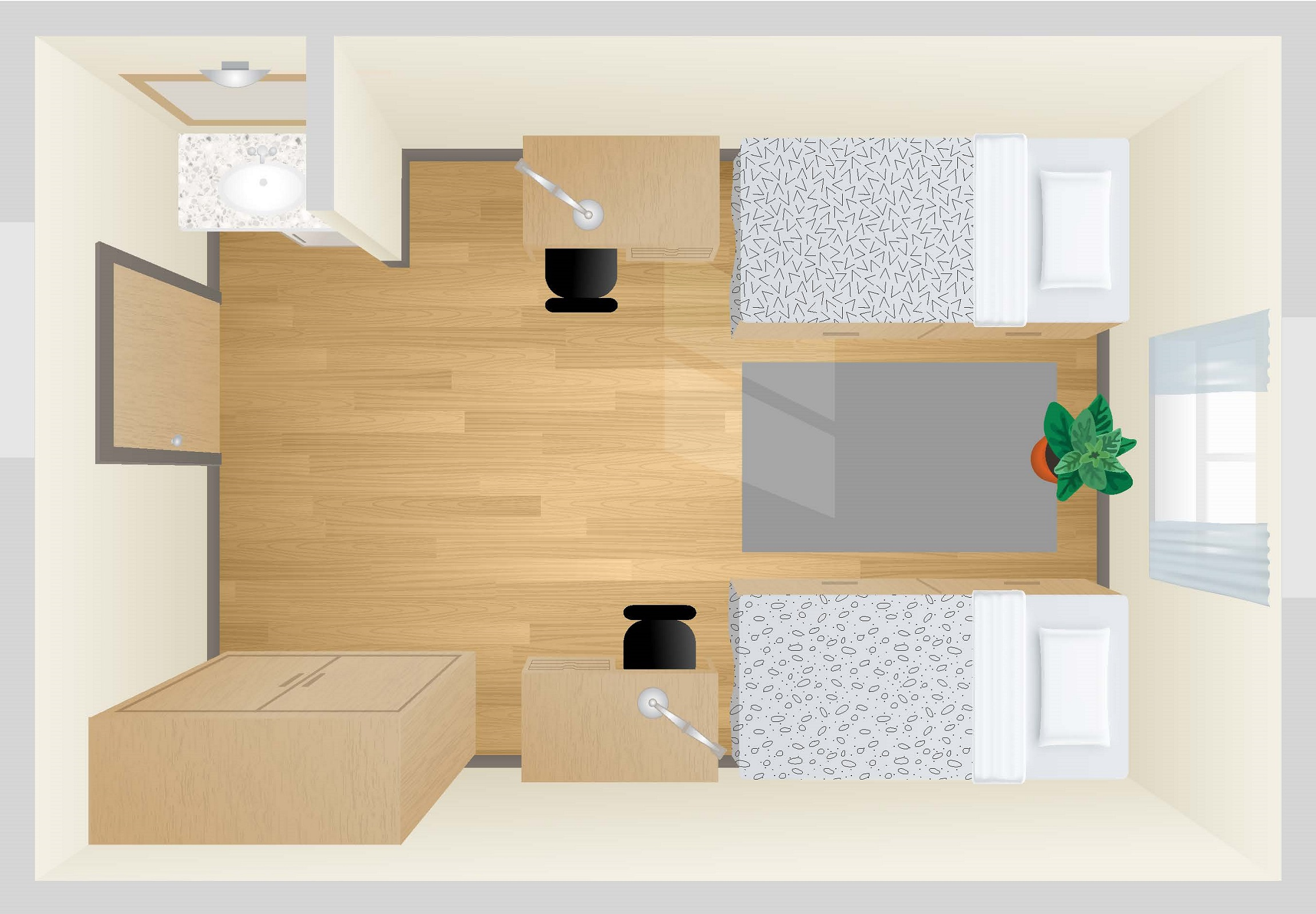 Image of plan view of a room