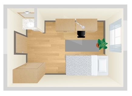 Image of a plan view of a room