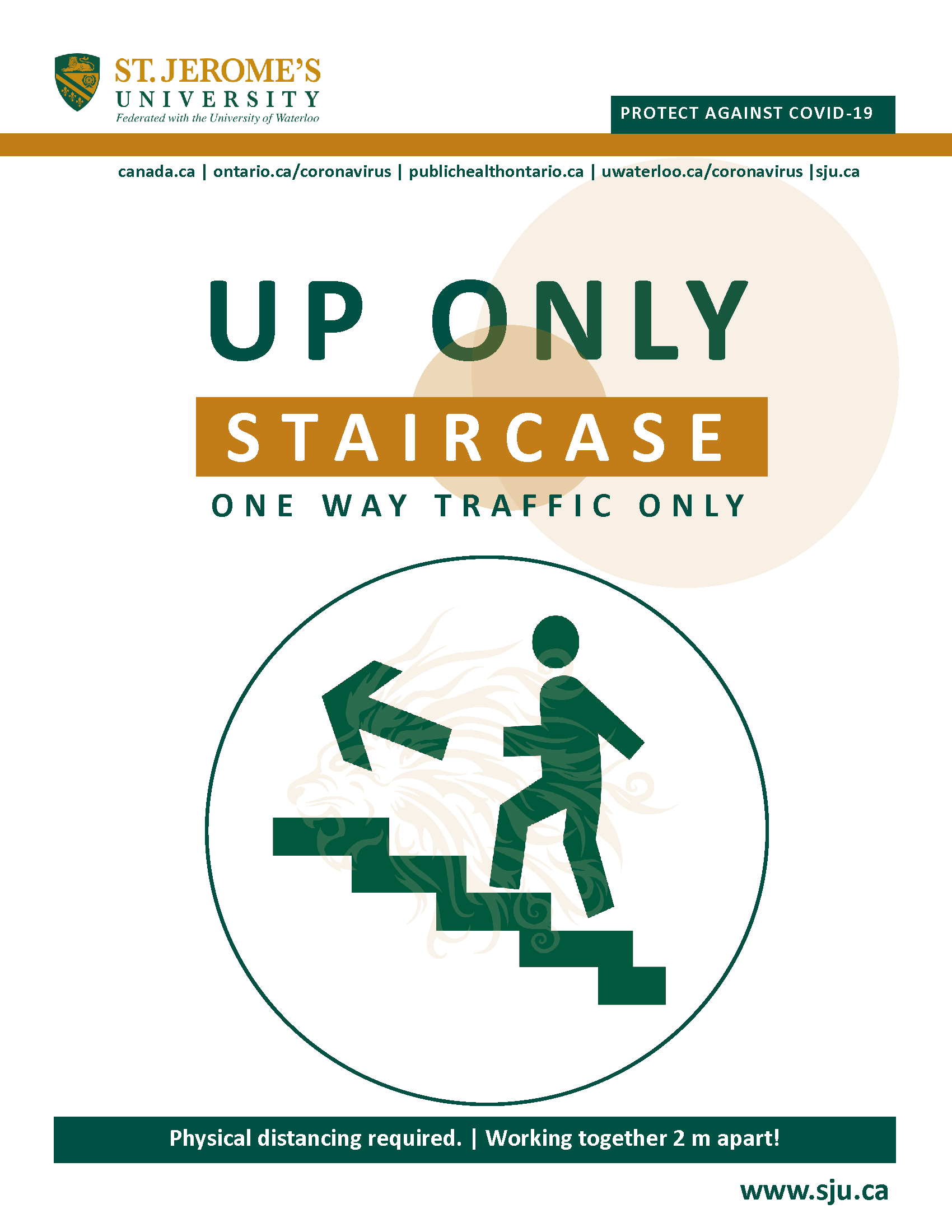 A stylized imag of a person walking up a flight of stairs and above reads Up Only Staircase - One Way Traffic Only