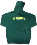 A flat lay green hoodie with the sleeves folded across the torso and St. Jerome's University embroidered across the chest in an arc