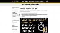 Website screenshot of Admission information Form