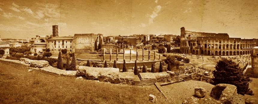 Image of scenery around The Colosseum in Rome