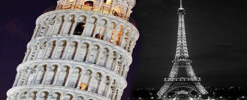 Image of The Leaning Tower of Pisa and The Eiffel Tower