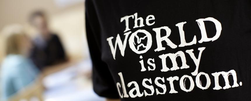 Image of students T-shirt saying The World is my classroom