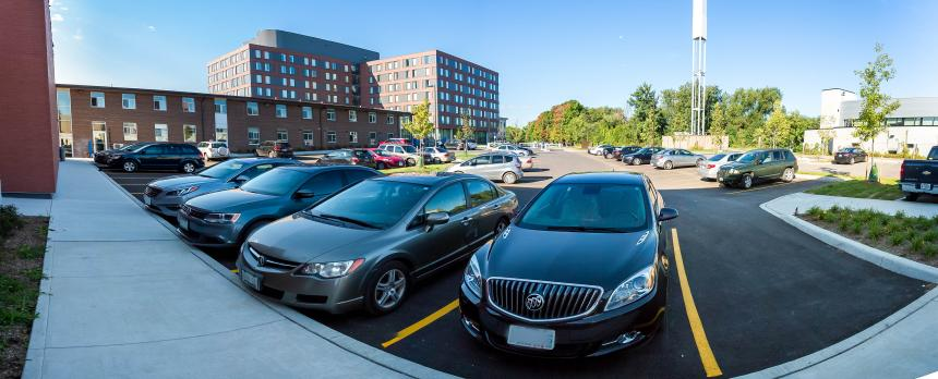 Image of a parking lot in campus