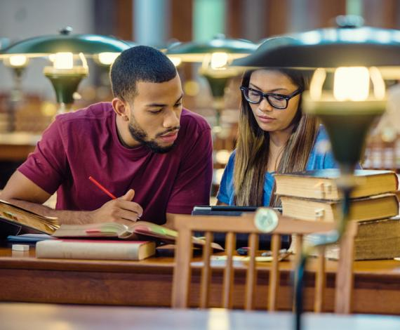 Image of students studying in library