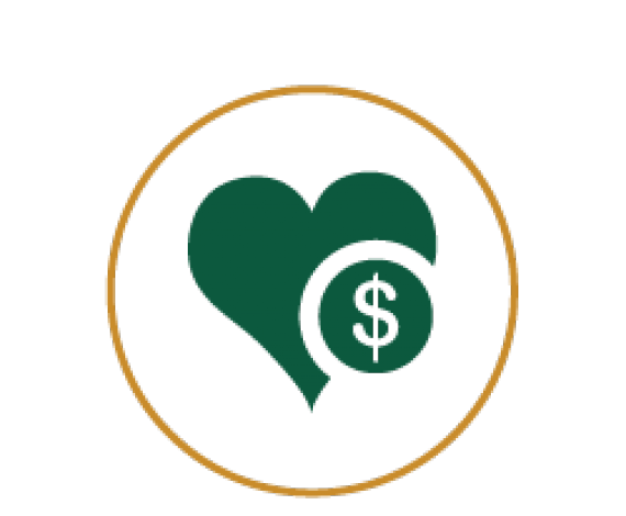 Icon of Heart with Dollar Symbol in it