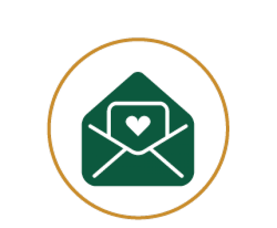Icon of an Envelope with love symbol inside it